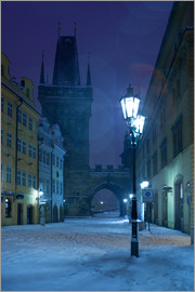 Street in Prague on a winter morning