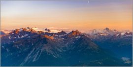 Fabio Lamanna - Sunset light over rocky mountain peaks, ridges and valleys, the Alps
