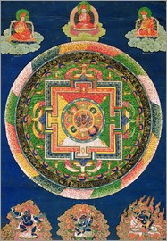 Tibetan School - Thangka of Mandala of Chakrasamvara in fierce form with red Prajna, Vajravarahi, 19th-20th century