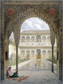Léon Auguste Asselineau - The Court of the Alberca in the Alhambra, Granada, 1853
