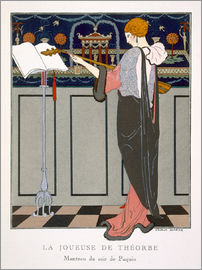 Georges Barbier - The Theorbo Player, design for an evening coat by Paquin, 1920s