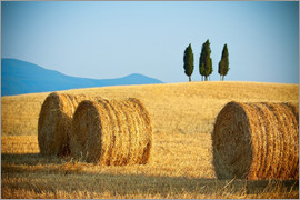 Tuscany landscape with straw bales