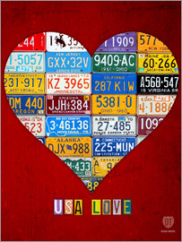 Design Turnpike - USA Love License Plate Heart Art