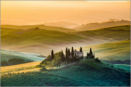 Click Alps - Val d'Orcia, Tuscany, Italy, A lonely farmhouse with cypress and olive trees, rolling hills,