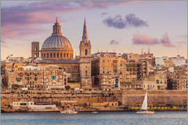 Neale Clarke - Valletta skyline at sunset with the Carmelite Church dome and St. Pauls Anglican Cathedral, Valletta