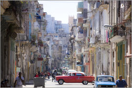 Lee Frost - View along congested street in Havana Centro showing people walking along pavements, traffic on the