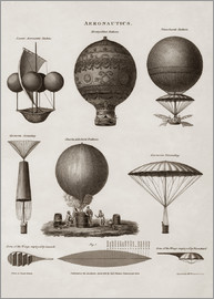John Parrot - Vintage illustration of early hot air balloon designs.