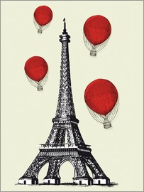 Nory Glory Prints - Vintage Paris Eiffel tower and red ballons