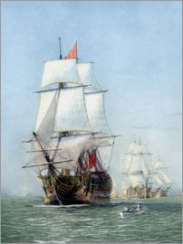 John Parrot - Vintage print of HMS Victory of the Royal Navy.