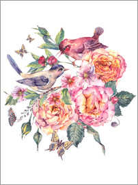 Birds and roses