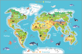 Kidz Collection - Mapa mundial para niños - Francés