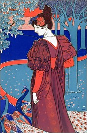 Louis John Rhead - Woman with Peacocks, from 'L'Estampe Moderne', published Paris 1897-99