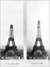 Two views of the construction of the Eiffel Tower