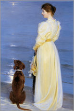 Naklejka na ścianę  Summer Evening at Skagen. The Artist's Wife and Dog by the Shore - Peder Severin Kr?yer