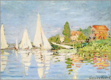 Holzbild  Regattaboote in Argenteuil - Claude Monet