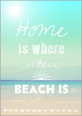 Wandsticker Home is where the beach is