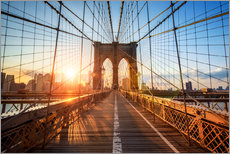 Wandsticker  Brooklyn Bridge in NY bei Sonnenaufgang - Jan Christopher Becke