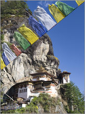 Wandsticker  Taktshang Goemba (Tiger's Nest Monastery) and prayer flags, Paro Valley, Bhutan, Asia - Lee Frost
