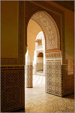 Wandsticker  Large patio columns with azulejos decor, Islamo-Andalucian art, Marrakech Museum, Marrakech, Morocco - Guy Thouvenin