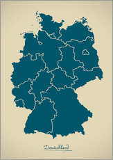 Gallery Print  Deutschland Landkarte Modern Map Artwork Design - Ingo Menhard