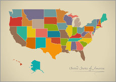 Wandsticker  USA Landkarte Modern Map Artwork Design - Ingo Menhard