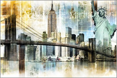 Wandsticker  Skyline New York Abstrakt Fraktal - Städtecollagen