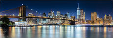 Wandsticker New York City Skyline bei Nacht (Panorama)