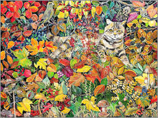 Gallery Print  Tabby im Herbstlaub, 1996 - Hilary Jones