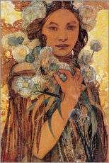 Gallery print  Native American woman with flowers and feathers - Alfons Mucha
