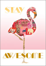 Wandsticker  Stay Awesome Flamingo - GreenNest