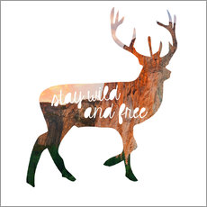 Wandsticker  Hirsch - stay wild and free - GreenNest