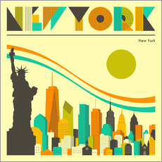 Wandsticker  New York Skyline - Jazzberry Blue
