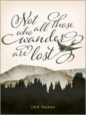 Wandsticker  Not all those who wander are lost, Tolkien - Amelia Gier