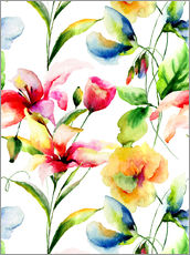 Gallery Print  Wildblumen in Aquarell