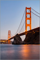 Gallery Print  San Francisco Golden Gate Bridge bei Sonnenuntergang