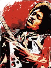 Gallery Print  alternative jimi hendrix street art style illustration - 2ToastDesign