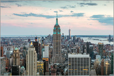 Wandsticker Skyline von Manhattan mit Empire State Building bei Sonnenuntergang, Stadt New York, USA