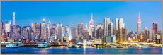 Wandsticker Manhattan Skyline Panorama in der Nacht, New York City, USA