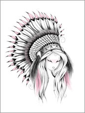 Wandsticker  Indian Headdress Pink Version - LouJah