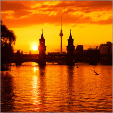 Wandsticker Berlin - Sunset Skyline