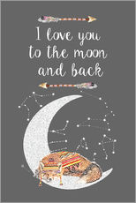 Wandsticker  I love you to the moon and back - GreenNest