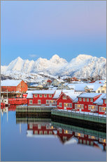 Wandsticker  Pink sunset over the typical red houses reflected in the sea, Svolvaer, Lofoten Islands, Arctic, Nor - Roberto Sysa Moiola