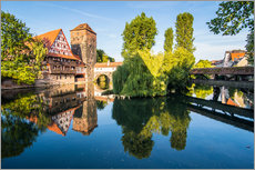 Wandsticker  Old timbered houses and hanging tower, Nuremberg, Middle Franconia, Bavaria, Germany, Europe - Michael Runkel