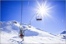 Gallery Print  Skiers ascending on a ski lift - Gustoimages