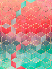 Gallery Print  Rose And Turquoise Cubes - Elisabeth Fredriksson
