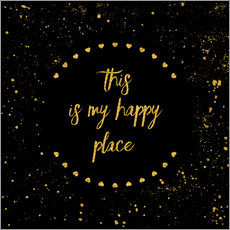 Gallery Print  Text Art THIS IS MY HAPPY PLACE II black with hearts & splashes - Melanie Viola