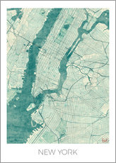 Wandsticker  Karte von New York, Blau - Hubert Roguski