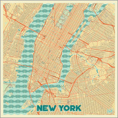 Wandsticker Karte von New York, Retro
