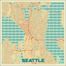 Gallery Print  Karte von Seattle, Retro - Hubert Roguski