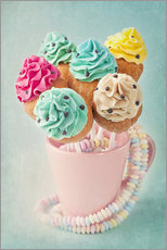 Gallery print  Colorful cupcake pops on blue background - Elena Schweitzer